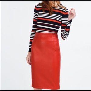 Zara Red Leather Skirt